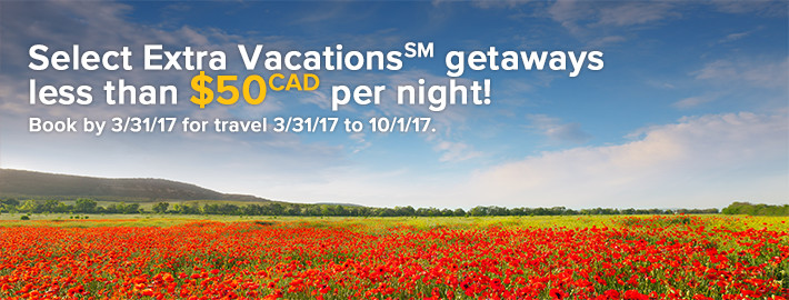 Select Extra Vacations(SM) getaways just $281(CAD) per night!